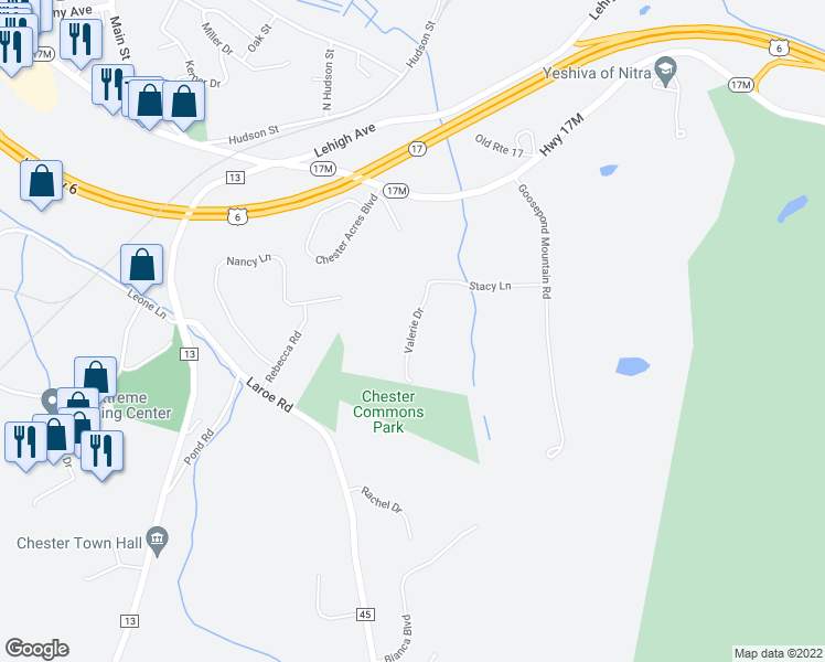 map of restaurants, bars, coffee shops, grocery stores, and more near Valerie Drive in Chester