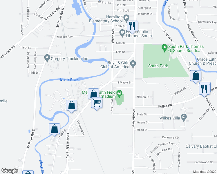 map of restaurants, bars, coffee shops, grocery stores, and more near 310 Oberlin Road in Elyria