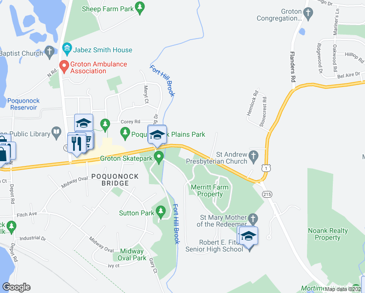 map of restaurants, bars, coffee shops, grocery stores, and more near Fort Hill Road in Groton