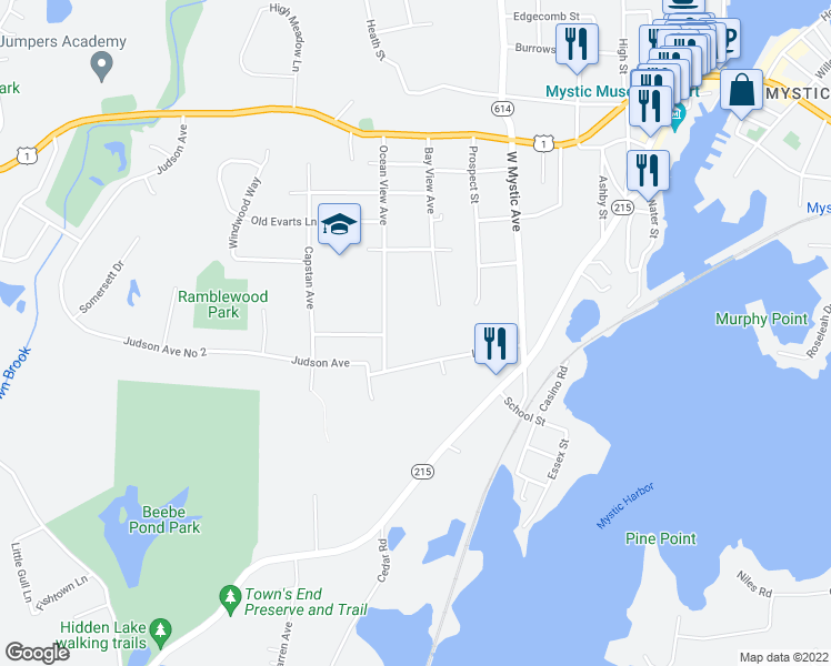 map of restaurants, bars, coffee shops, grocery stores, and more near 108 Irving Street in Groton