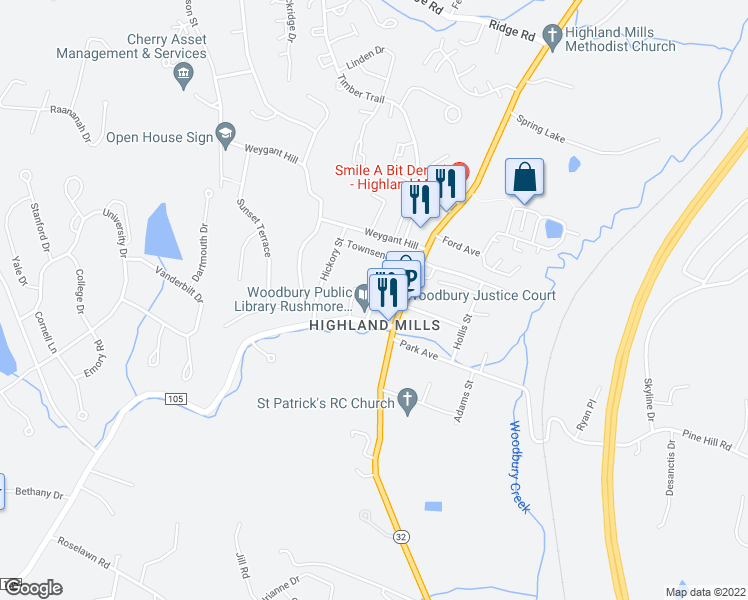 map of restaurants, bars, coffee shops, grocery stores, and more near 0 Woodbury Road in Woodbury