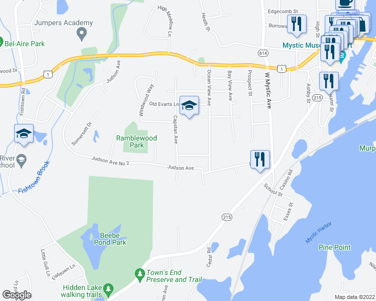 map of restaurants, bars, coffee shops, grocery stores, and more near 38 Walter Fish Avenue in Mystic