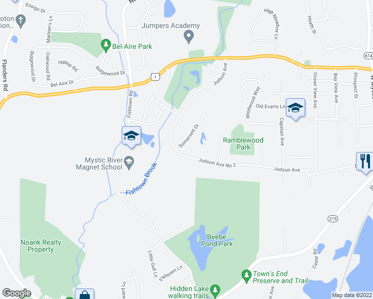 map of restaurants, bars, coffee shops, grocery stores, and more near 240 Judson Avenue in Groton