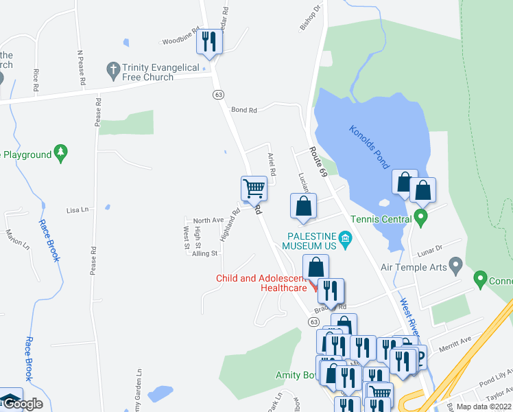 map of restaurants, bars, coffee shops, grocery stores, and more near 330 Amity Road in Woodbridge
