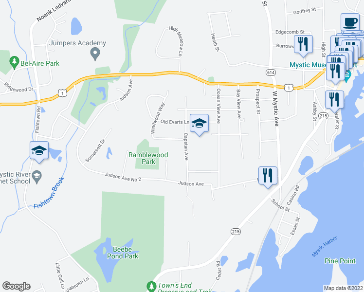 map of restaurants, bars, coffee shops, grocery stores, and more near 171 Capstan Avenue in Mystic