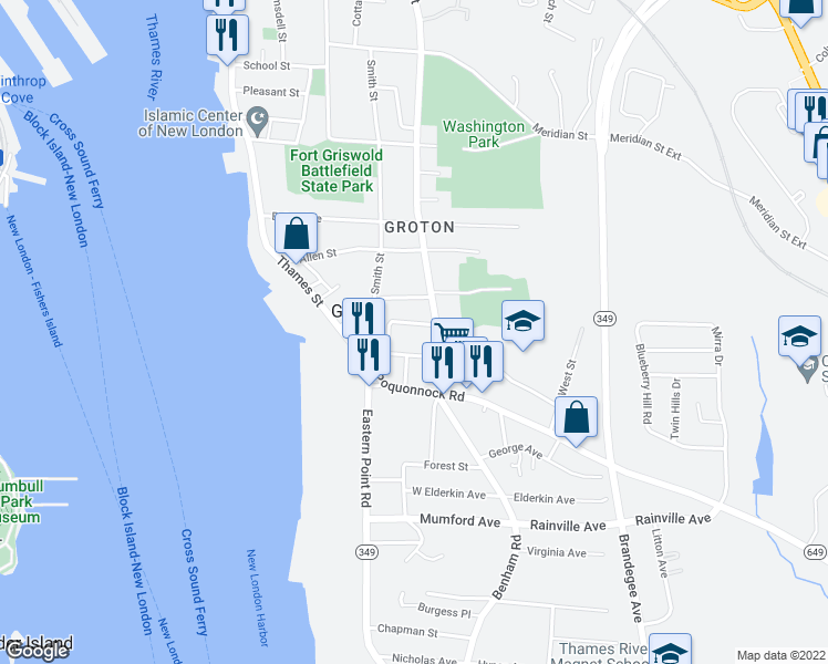 map of restaurants, bars, coffee shops, grocery stores, and more near 53 Denison Avenue in Groton