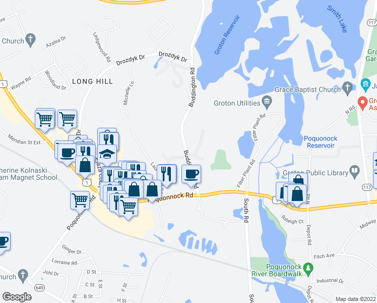 map of restaurants, bars, coffee shops, grocery stores, and more near 70 Buddington Road in Groton
