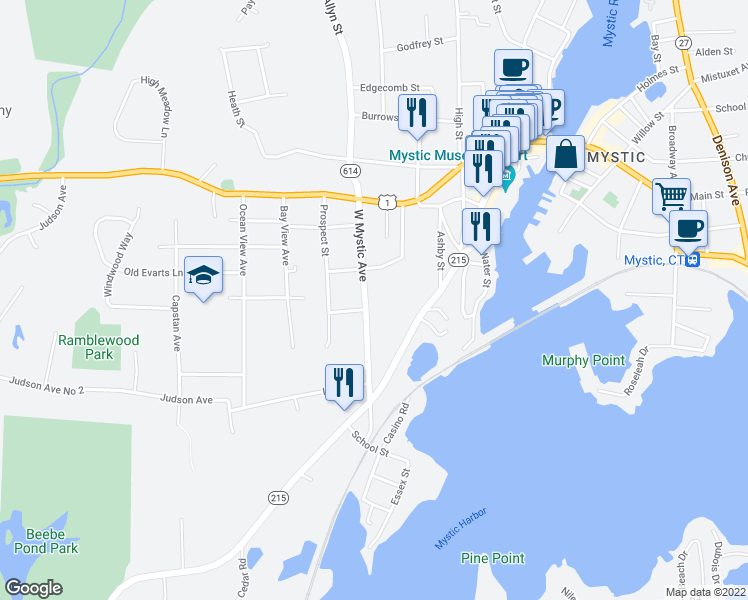 map of restaurants, bars, coffee shops, grocery stores, and more near 19 West Mystic Avenue in Mystic