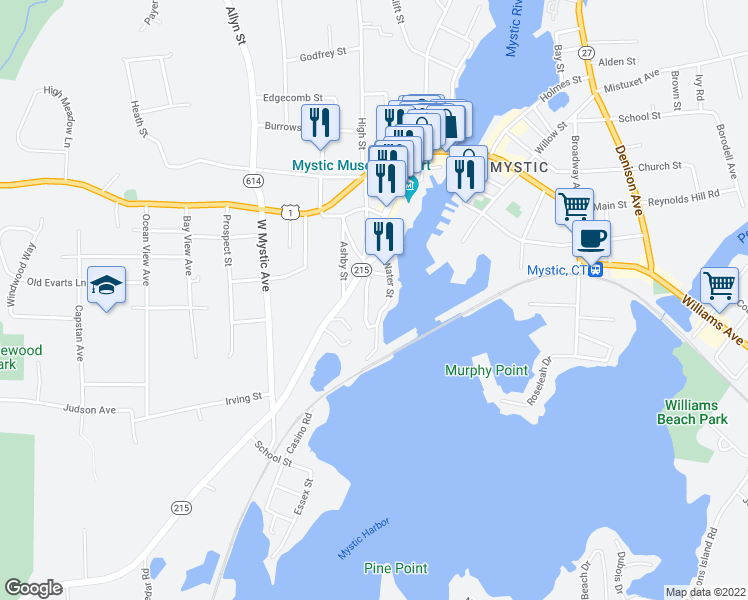 map of restaurants, bars, coffee shops, grocery stores, and more near 11 Fort Rachel Place in Mystic