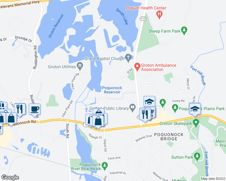 map of restaurants, bars, coffee shops, grocery stores, and more near 151 North Road in Groton