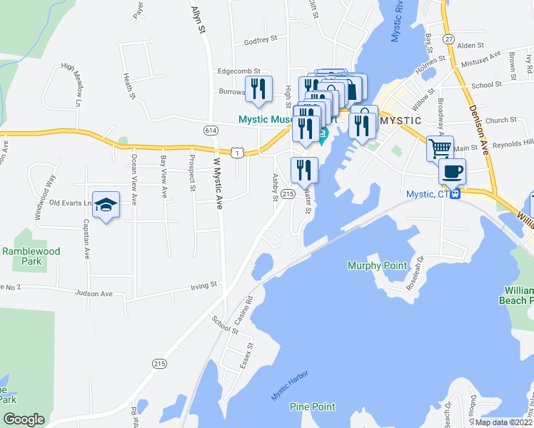 map of restaurants, bars, coffee shops, grocery stores, and more near 1 Ashby Street in Groton