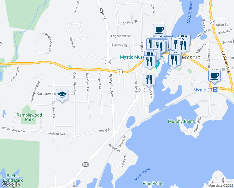 map of restaurants, bars, coffee shops, grocery stores, and more near 9 Rowland Street in Groton