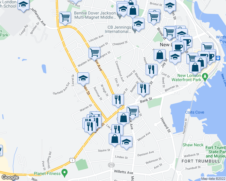 map of restaurants, bars, coffee shops, grocery stores, and more near 67 1/2 Jefferson Avenue in New London