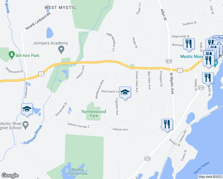 map of restaurants, bars, coffee shops, grocery stores, and more near 204 Old Evarts Lane in Groton