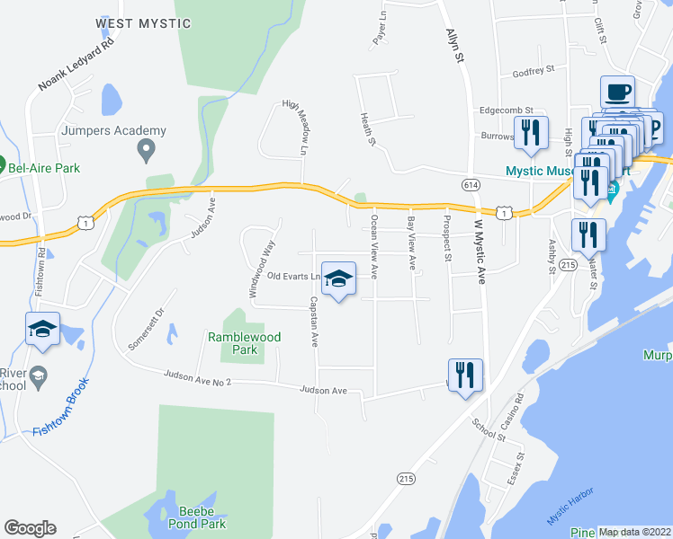 map of restaurants, bars, coffee shops, grocery stores, and more near 152 Old Evarts Lane in Groton