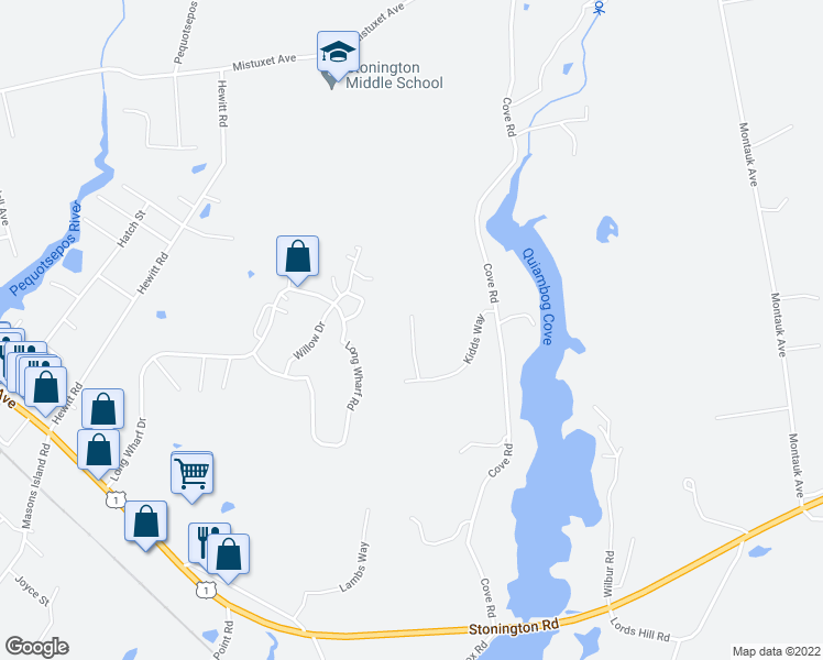 map of restaurants, bars, coffee shops, grocery stores, and more near 52 Kidds Way in Stonington
