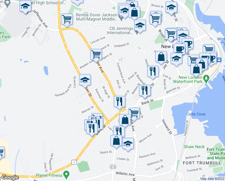 map of restaurants, bars, coffee shops, grocery stores, and more near 69 Jefferson Avenue in New London