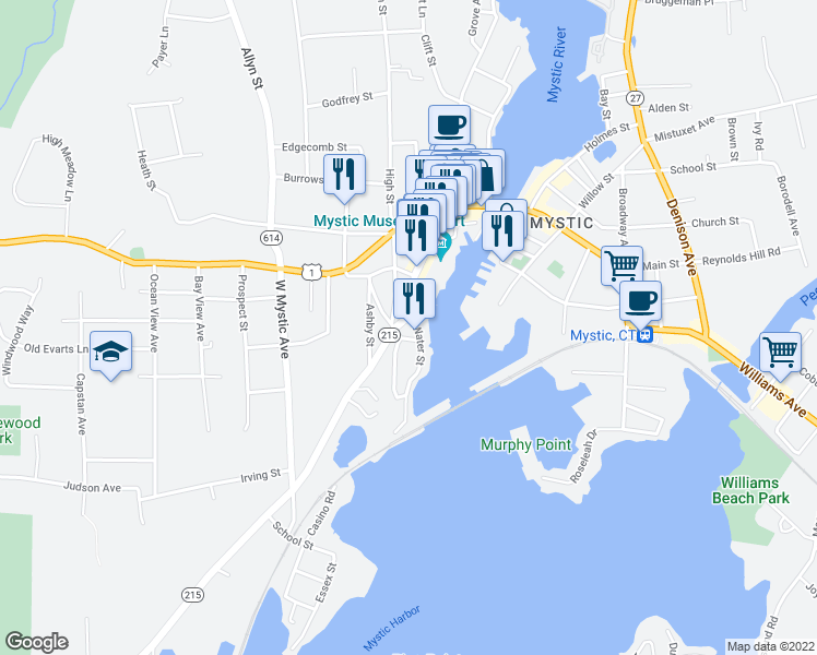 map of restaurants, bars, coffee shops, grocery stores, and more near 1 Noank Road in Groton