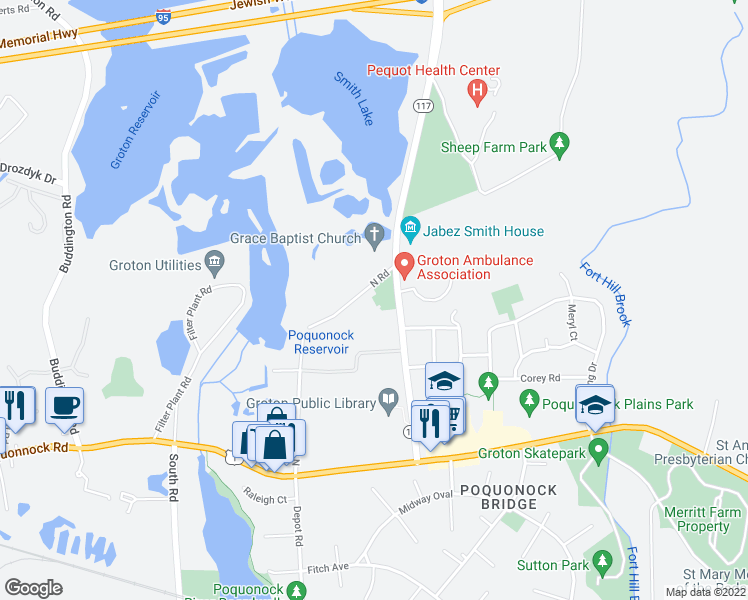 map of restaurants, bars, coffee shops, grocery stores, and more near 209 North Road in Groton