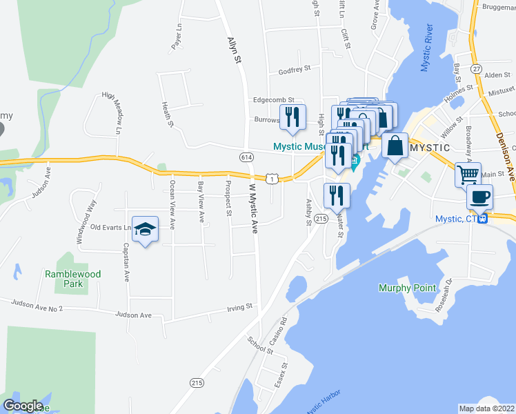 map of restaurants, bars, coffee shops, grocery stores, and more near 7 West Mystic Avenue in Groton