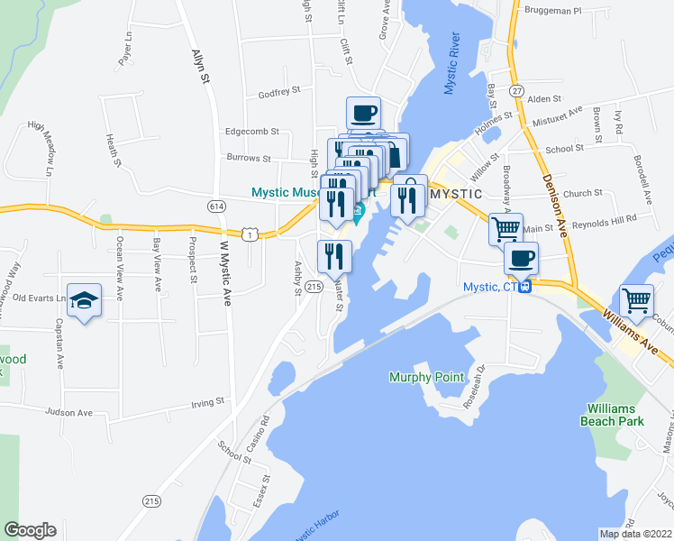 map of restaurants, bars, coffee shops, grocery stores, and more near 17 Water Street in Groton