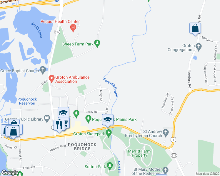 map of restaurants, bars, coffee shops, grocery stores, and more near 156 Ring Drive in Groton