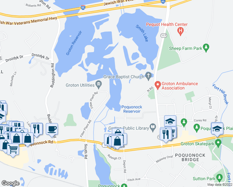 map of restaurants, bars, coffee shops, grocery stores, and more near in Groton