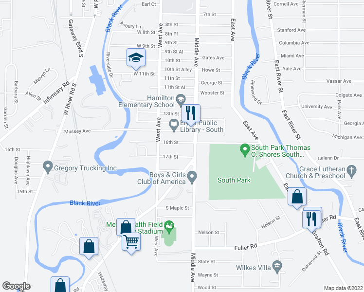 map of restaurants, bars, coffee shops, grocery stores, and more near 314 16th Street in Elyria