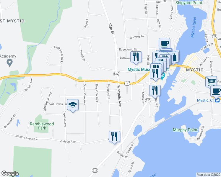 map of restaurants, bars, coffee shops, grocery stores, and more near 3 Prospect Street in Groton