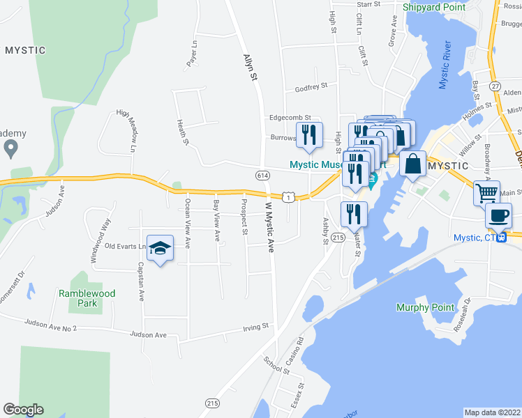map of restaurants, bars, coffee shops, grocery stores, and more near 4 West Mystic Avenue in Groton