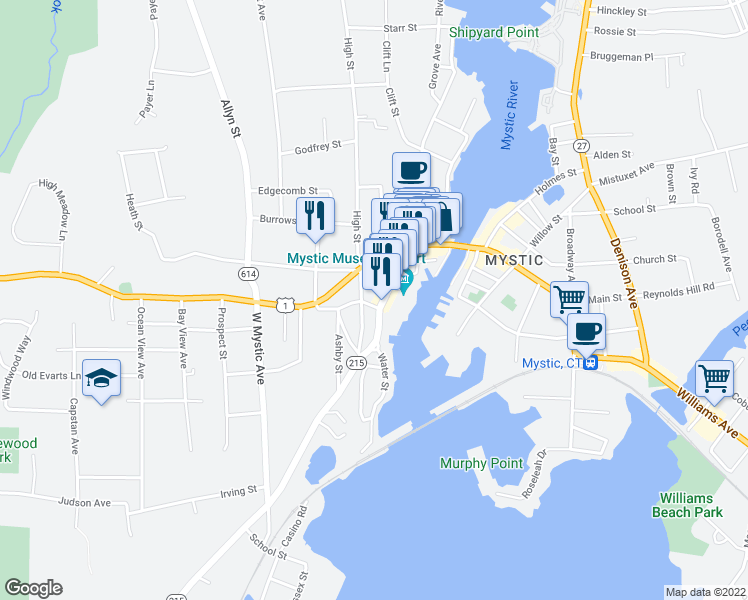 map of restaurants, bars, coffee shops, grocery stores, and more near 2 New London Road in Groton