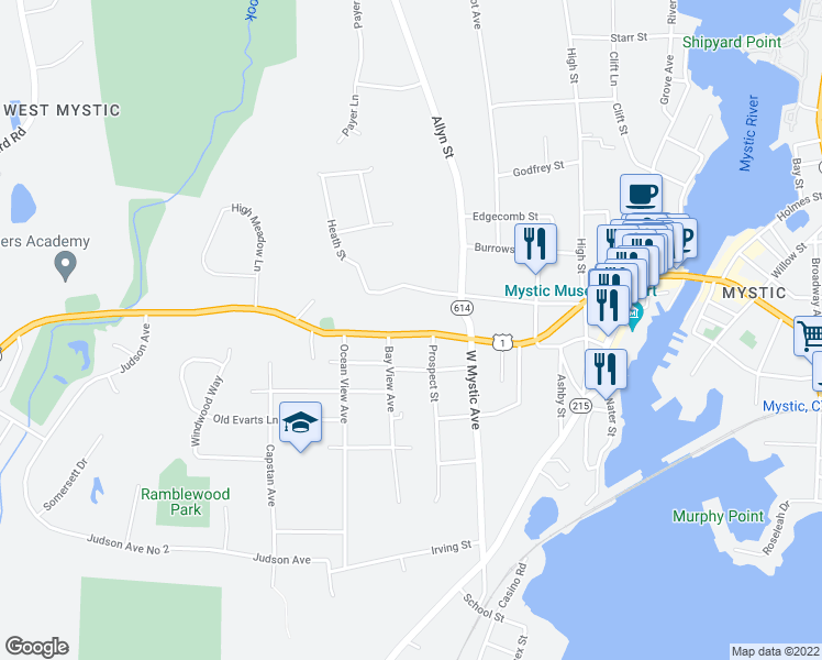 map of restaurants, bars, coffee shops, grocery stores, and more near 42 New London Road in Groton