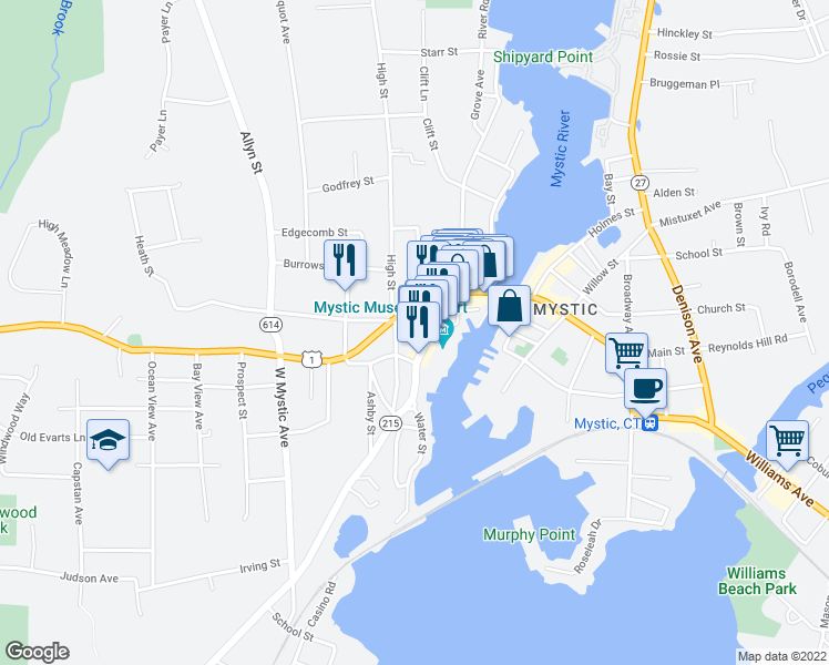 map of restaurants, bars, coffee shops, grocery stores, and more near 12 Water Street in Groton