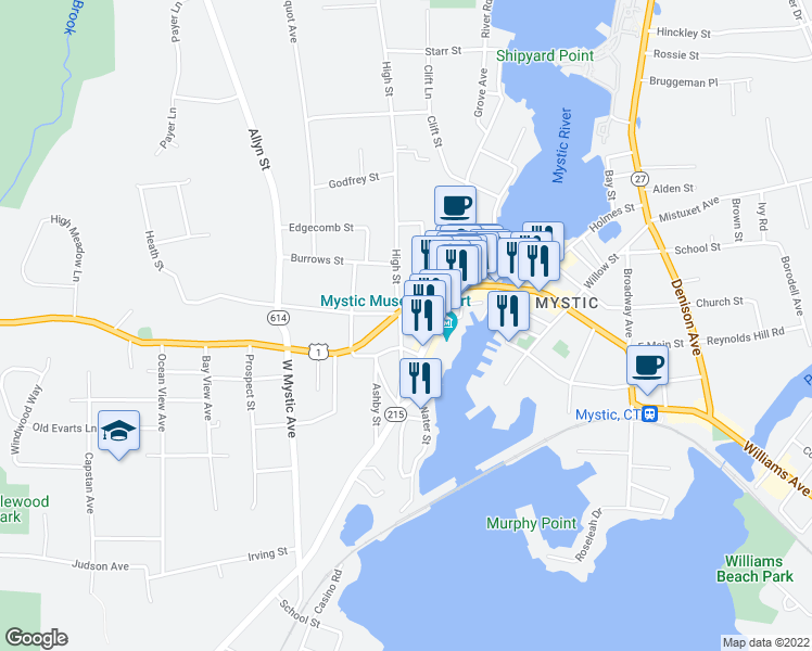map of restaurants, bars, coffee shops, grocery stores, and more near 84 High Street in Groton