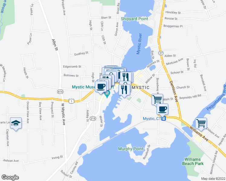 map of restaurants, bars, coffee shops, grocery stores, and more near 65 Steamboat Wharf in Mystic