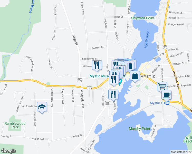 map of restaurants, bars, coffee shops, grocery stores, and more near 11 Elm Street in Groton