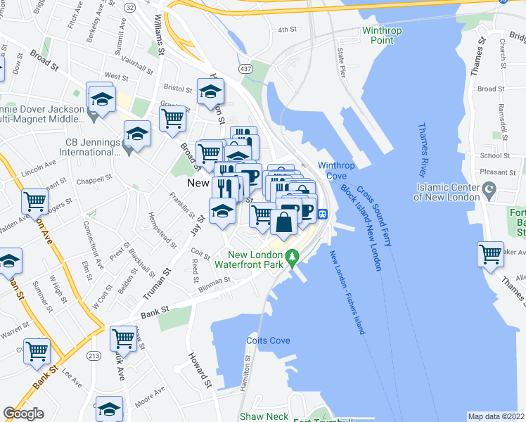 map of restaurants, bars, coffee shops, grocery stores, and more near 243 State Street in New London