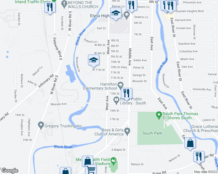 map of restaurants, bars, coffee shops, grocery stores, and more near 1212 West Avenue in Elyria