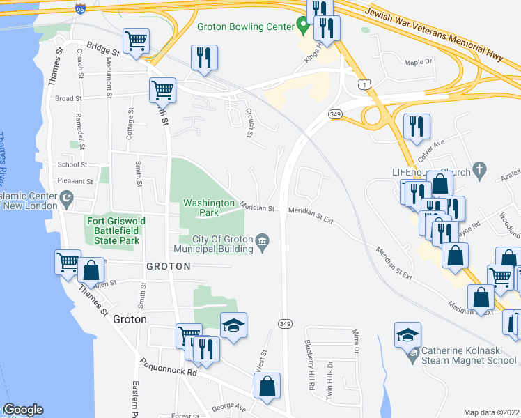 map of restaurants, bars, coffee shops, grocery stores, and more near 292 Meridian Street in Groton