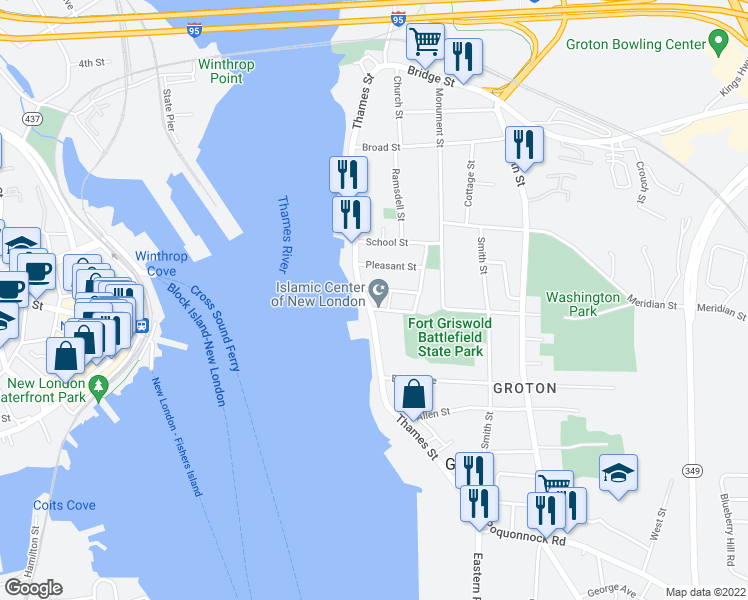 map of restaurants, bars, coffee shops, grocery stores, and more near 282 Thames Street in Groton