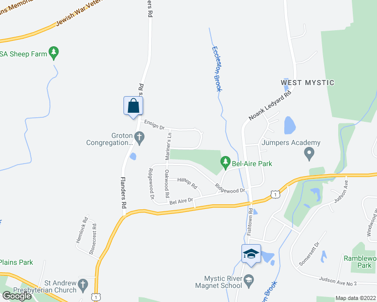 map of restaurants, bars, coffee shops, grocery stores, and more near 234 Ensign Drive in Groton