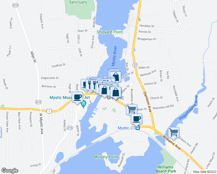 map of restaurants, bars, coffee shops, grocery stores, and more near 5 Holmes Street in Stonington