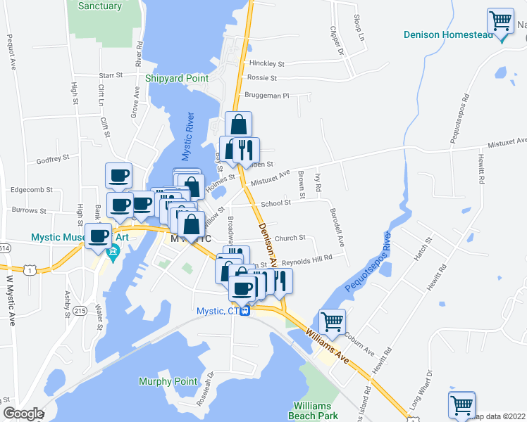 map of restaurants, bars, coffee shops, grocery stores, and more near 70 Denison Avenue in Stonington