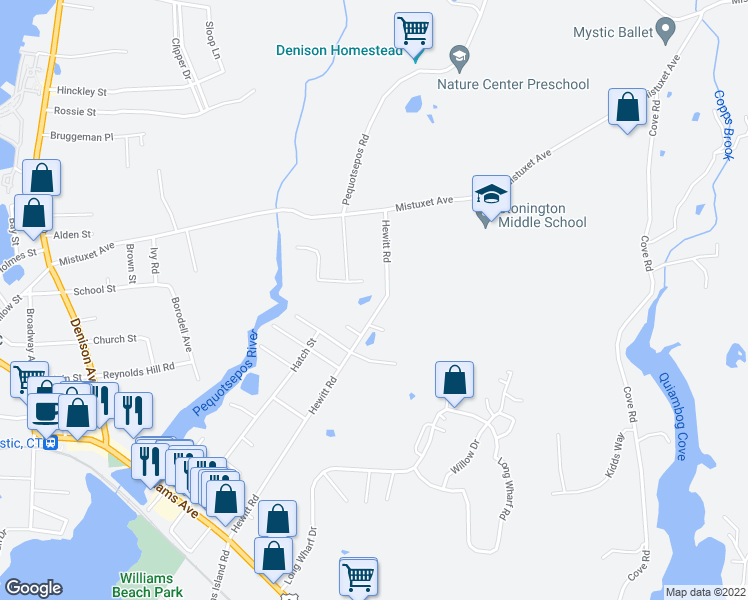 map of restaurants, bars, coffee shops, grocery stores, and more near 133 Hewitt Road in Stonington