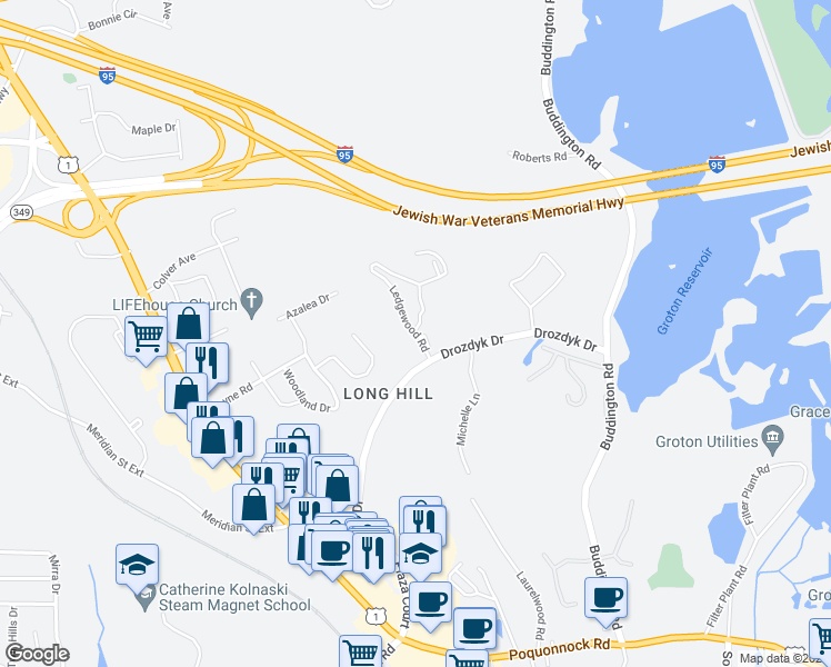 map of restaurants, bars, coffee shops, grocery stores, and more near 79-81 Drozdyk Drive in Groton