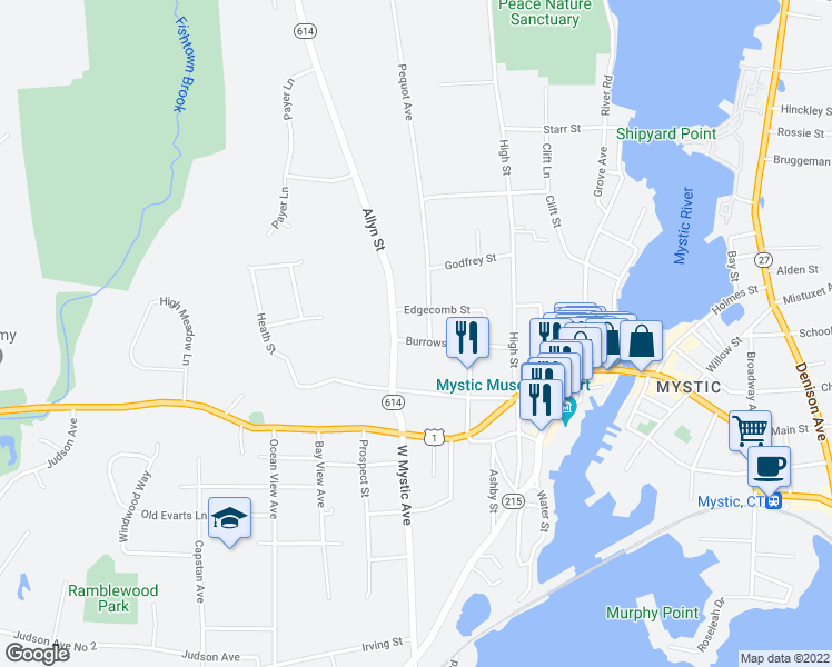 map of restaurants, bars, coffee shops, grocery stores, and more near 22 Burrows Street in Groton