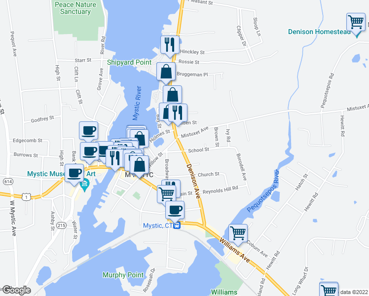 map of restaurants, bars, coffee shops, grocery stores, and more near 78 Denison Avenue in Stonington