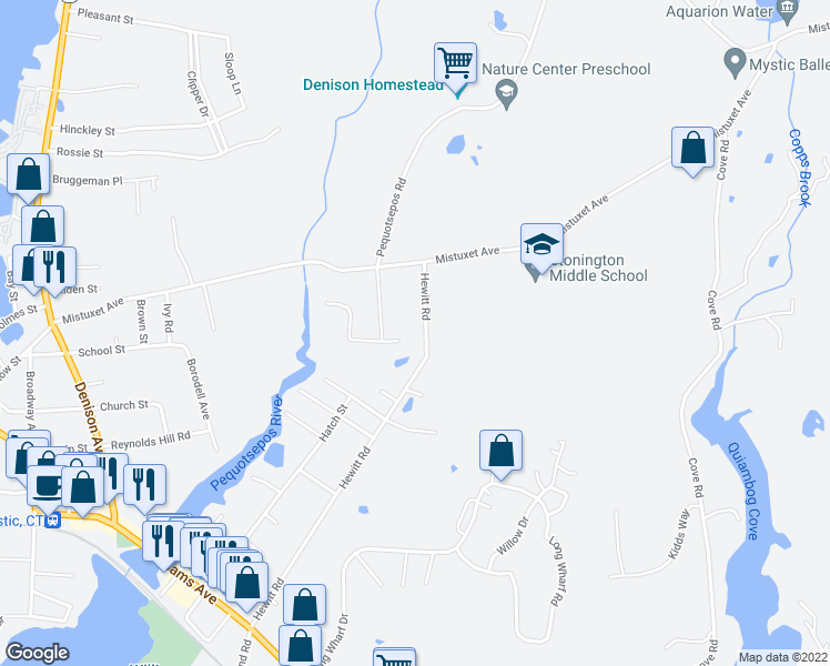 map of restaurants, bars, coffee shops, grocery stores, and more near 147 Hewitt Road in Stonington