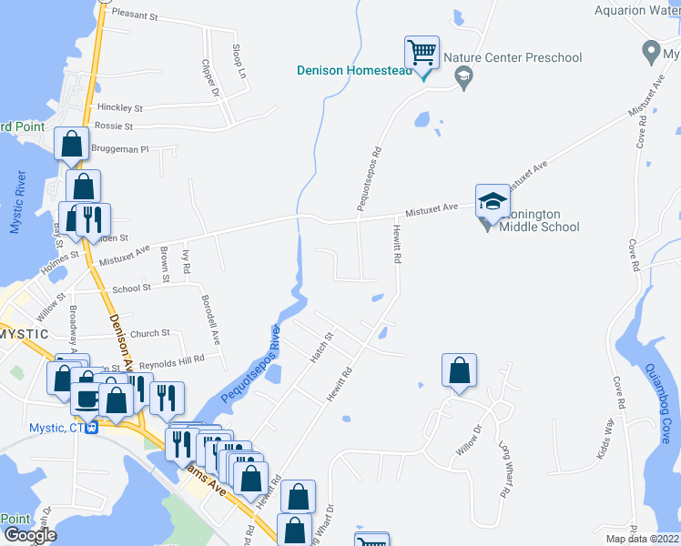map of restaurants, bars, coffee shops, grocery stores, and more near 22 Golden Road in Stonington