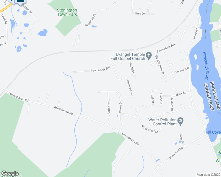 map of restaurants, bars, coffee shops, grocery stores, and more near 80 Renee Drive in Stonington